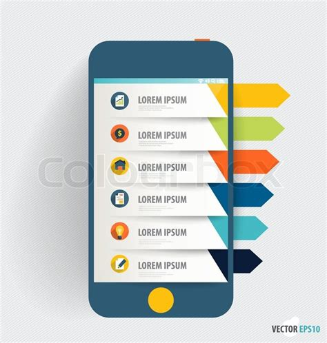 app design elements vector touchscreen device with infographics paper template