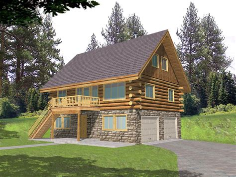cabin plans with garage leverette raised log cabin home plan 088d 0048 house plans and more