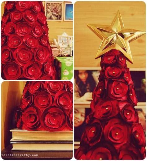 193 rbol de navidad con rosas de tela