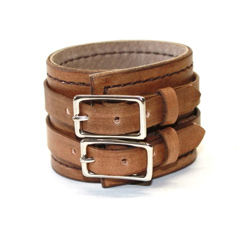 leather cuffs for jewelry rugged brown leather cuff bracelet adjustable with buckles