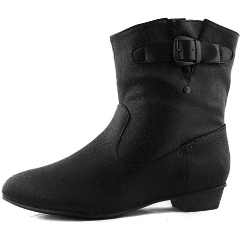 black ankle high booties walkable toe thick kitten