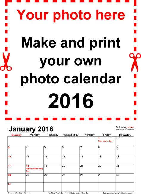 picture calendar template photo calendar 2016 free printable word templates
