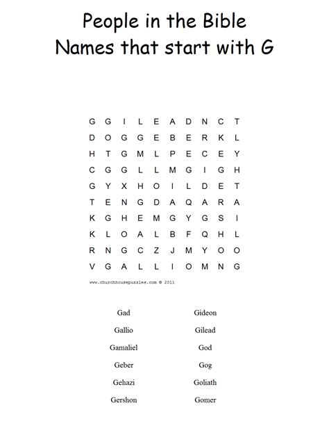 names that start with a names that start with g word search puzzle