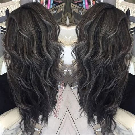 picture of long dark hair eith gray teverse frost 136 likes 8 comments pelagia penny hair stylist
