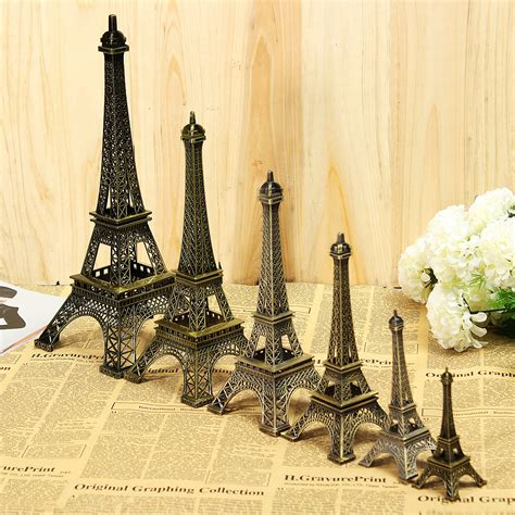 vintage bronze tone eiffel tower sculpture retro