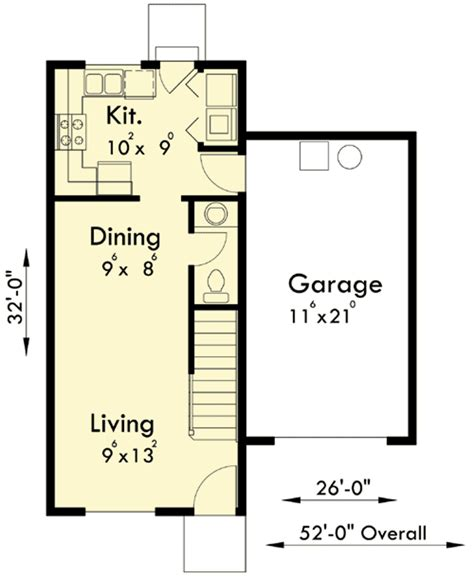 1 Floor Duplex Plans Narrow Lots by Duplex House Plan For A Narrow Lot 38017lb 2nd Floor