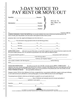 3 day notice to pay or quit tenant rights forms and