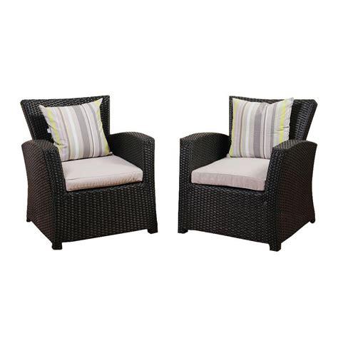 armchair set amazonia atlantic 2 piece bradley black synthetic wicker patio armchair set with light grey
