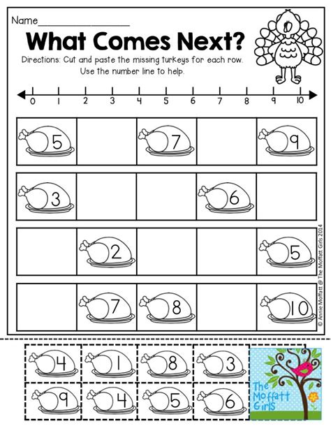 printable math worksheets thanksgiving what comes next cut and paste the missing turkeys in each