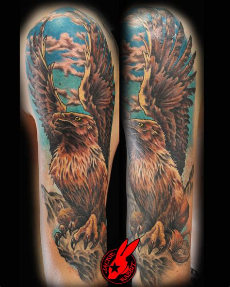 gryphon tattoo griffin sleeve by jackie rabbit by jackierabbit12