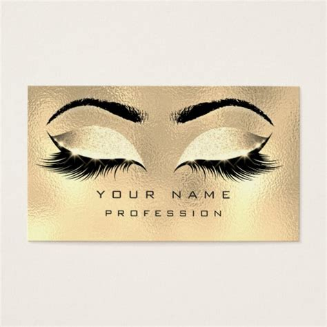 Makeup Eyebrows Lashes Glitter Metallic Glam Gold Business Card Zazzle Com Eyelash Business Cards Templates