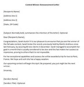 contest winner announcement writing professional letters