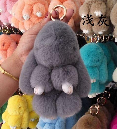 Bunny Bag Charm Gantungan Tas Kelinci 2017 18cm height plush bunny car keychain charm simulation animal bionic imitation rabbit fur