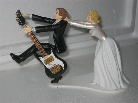 Guitar Themed Wedding Cake Topper Groom Bride by