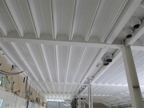 Spraying Ceilings by The Best Paint For Galvanised Ceiling Voids Or Soffits Is