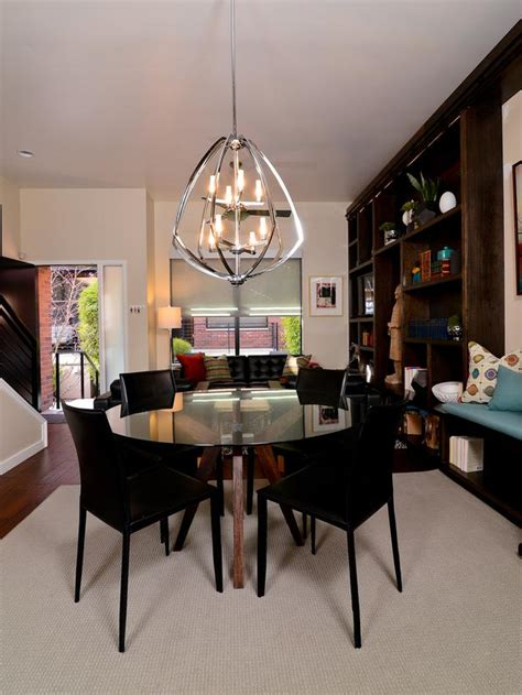 glass topped dining table and globe pendant light