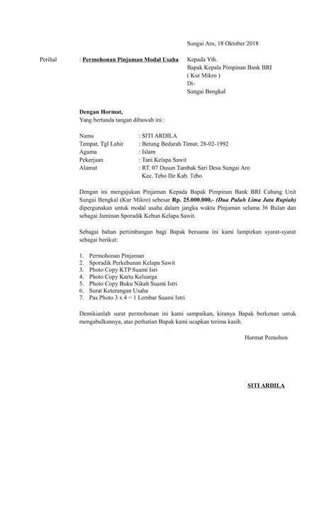 contoh surat orton contoh surat permohonan pinjaman modal