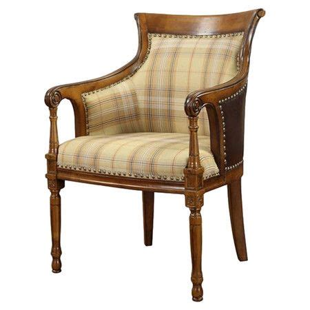 Leather Trimmed Upholstery - carved wood arm chair with nailhead trimmed