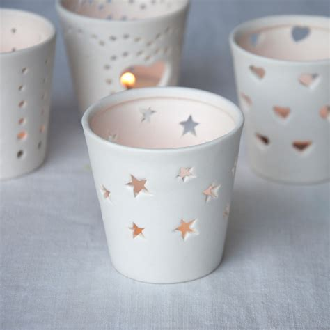 dotcomgiftshop white stars ceramic tea light candle holder