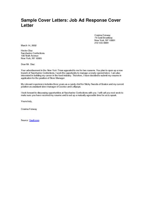 cover letter for position free cover letter exles sales