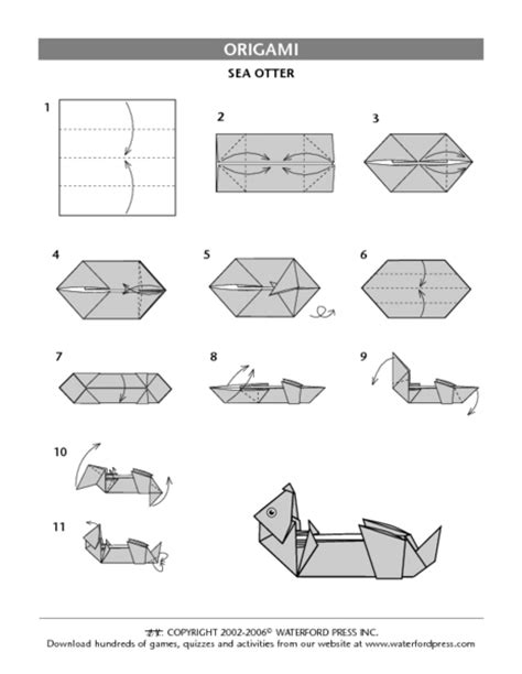 Otter Origami - origami worksheet wiildcreative