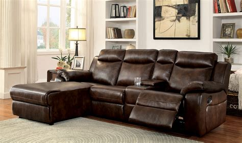 Sectionals With Recliners In Them Hardy Transitional Style Brown Leatherette Sofa Recliner Sectional W Cup Holders Storage