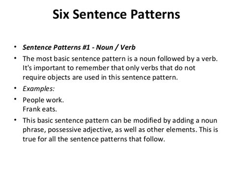 noun verb pattern in a sentence phrase clause and sentence