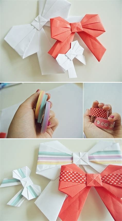 tutorial origami ribbon origami bows decorated with masking tape tutorial here