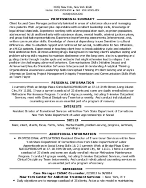 Resume Counselor Exle by Substance Abuse Counselor Resume Sle 28 Images Sle