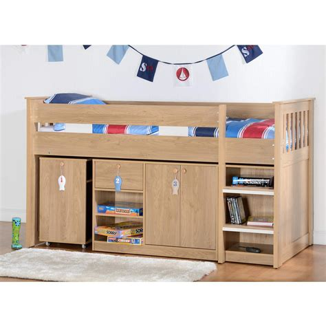 Oak Mid Sleeper Bed by Seconique Merlin Oak Effect Sturdy Mid Sleeper Bed