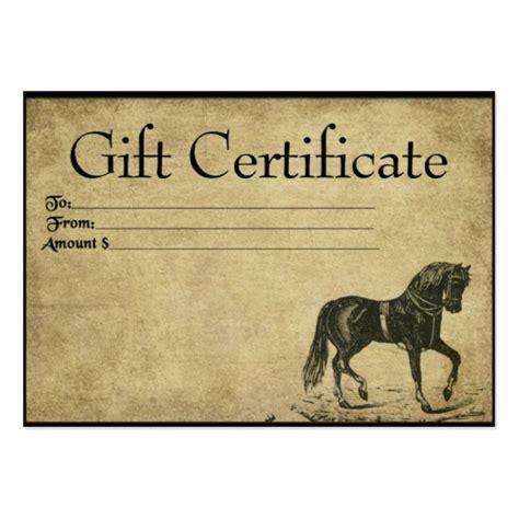 Prancing Horse Prim Gift Certificate Cards Zazzle Horseback Gift Certificate Template