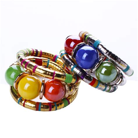 Hot Bohemian Vintage Jewelry Tibetan Gold Color Bracelet Resin Inlay Roundness Bead Adjust 2