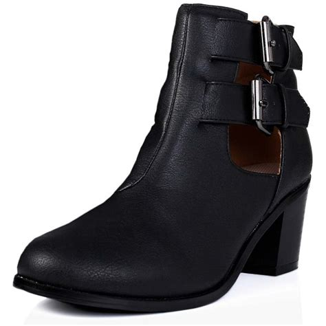 buy dulcet block heel cut out ankle boots black leather