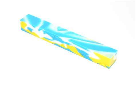 Blue White And Yellow Acrylic Pen Blank