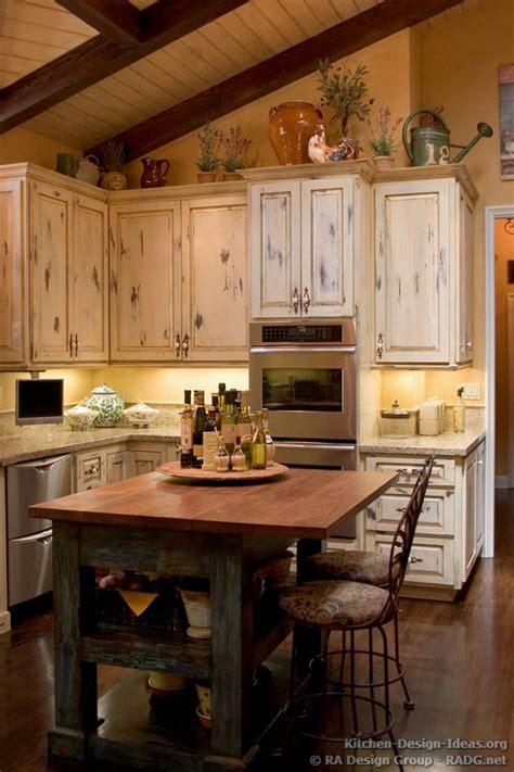 Kitchen Cabinets Decor Country Kitchen Cabinets With An Antique White Crackle Finish