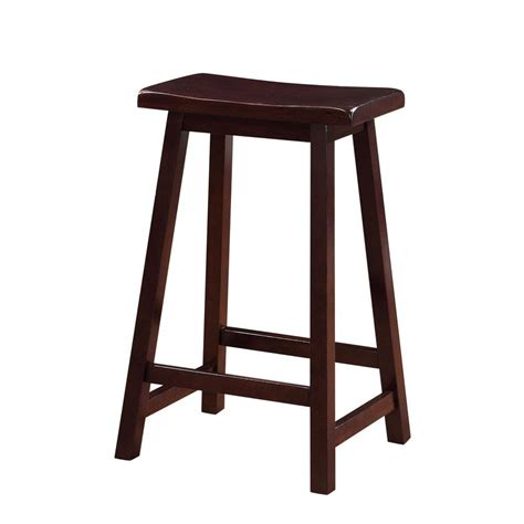 linon home decor bar stools linon home decor saddle 24 in dark brown bar stool