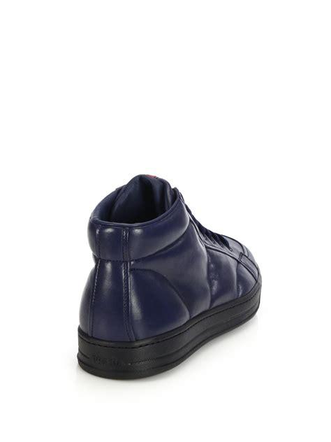 prada sneakers blue prada mid top leather sneakers in blue for lyst