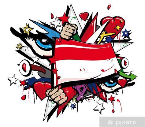 flag indonesia graffiti jakarta pop art illustration wall