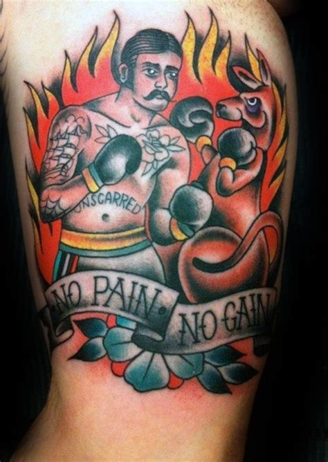 no pain no gain tattoo 50 kangaroo designs for australian animal ideas