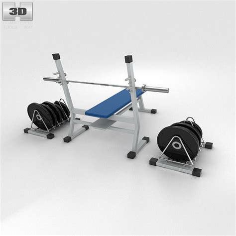 bench with weights weight bench with weights 3d model max obj 3ds fbx