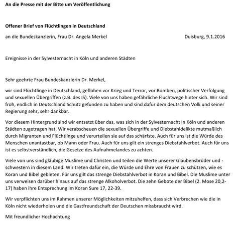 Deutschland Brief Beispiel Dieser Brief An Angela Merkel Spricht Fl 252 Chtlingen Aus Dem Herzen Welt