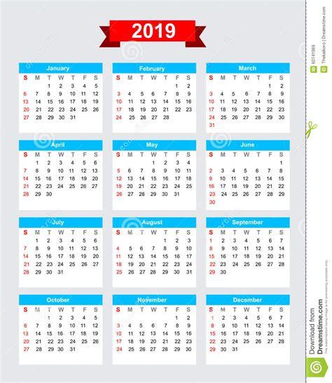 Calendario 2019 Febbraio Inizio Domenica Di Settimana Di Calendario 2019