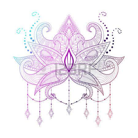 lotus flower tattoo designs boho ornamental color lotus