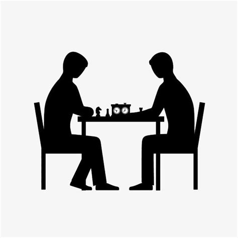 chagne silhouette png two chess play chess duel png