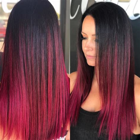 Women's Long Sleek Ruby Magenta Ombre Colored Hair with Short Layers Long Hairstyle