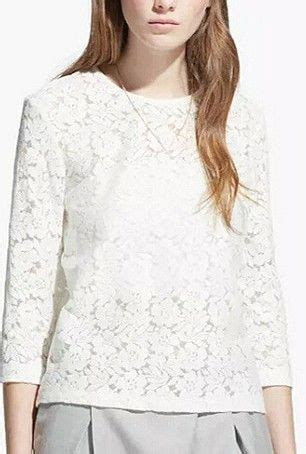 White Mercy V Neck Blouse white lace 3 4 sleeve top tops for