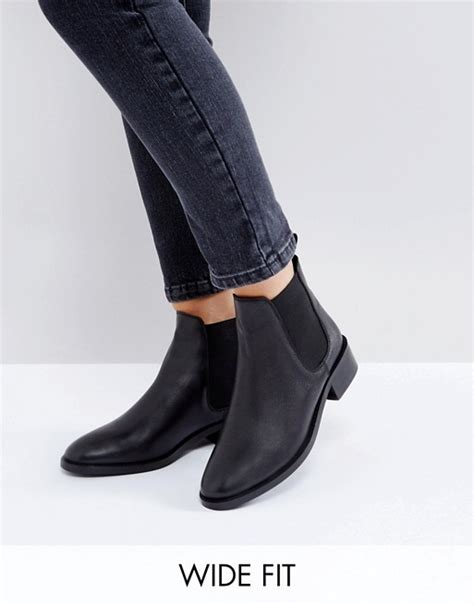asos asos absolute wide fit leather chelsea ankle boots