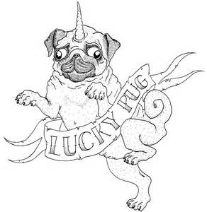 Pug Drawing Outline by Lucky Pug T Shirt Design Ichi Nichi Drawings