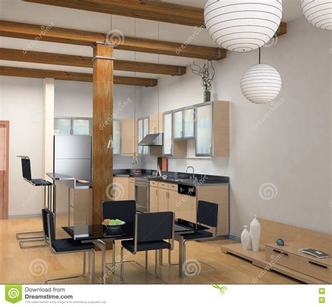 modern kitchen interior 3d rendering the modern kitchen royalty free stock photography image