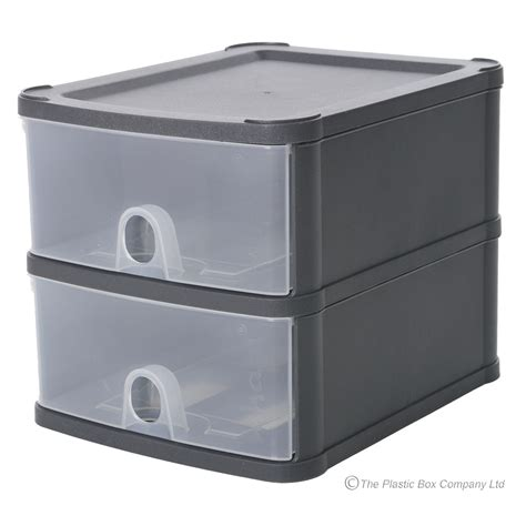 Acrylic Box 2 Drawers Wide by Wham Handy Plastic Stackable Two 2 Drawer Unit A5 Paper